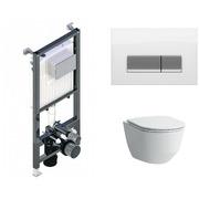 Инсталляция Koller Pool ALCORA ST1200 + кнопка Integra White Glass + Laufen Pro Rimless 820966 с сиденьем 898966 Slim Soft-close