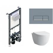 Инсталляция Koller Pool ALCORA ST1200 + кнопка Integra Matt Chrome + Laufen Pro Rimless 820966 с сиденьем 896951 Soft-close