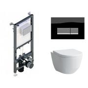 Инсталляция Koller Pool ALCORA ST1200 + кнопка Integra Black Glass + Laufen Pro Rimless 820966 с сиденьем 896951 Soft-close