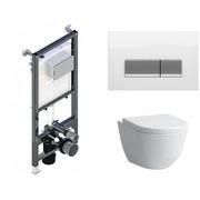 Инсталляция Koller Pool ALCORA ST1200 + кнопка Integra White Glass + Laufen Pro Rimless 820966 с сиденьем 896951 Soft-close