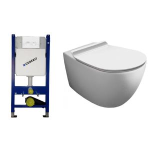 Фото Инсталляция с унитазом Geberit Duofix 458.161.11.1 + Simas Vignoni Rimless VI18 + F85 + VI004 Soft Close